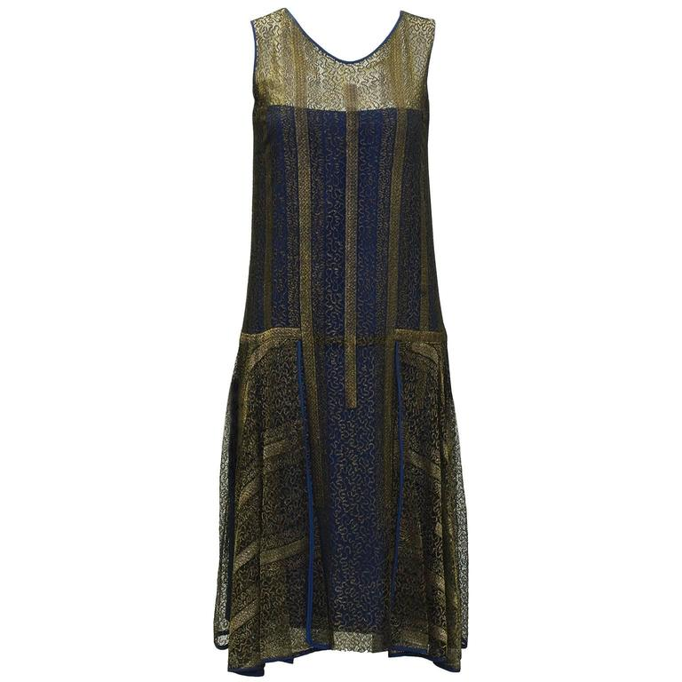 1920's Gold and Navy Lace Art Deco Flapper Dress 1