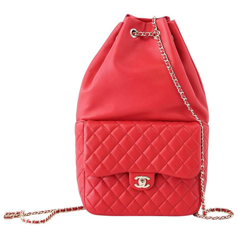 CHANEL Bag Red Classic Lambskin Backpack Rucksack CC Chain Quilted New 1