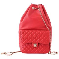 CHANEL Bag Red Classic Lambskin Backpack Rucksack CC Chain Quilted New