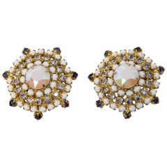 60s Rhinestone Hobé Earrings
