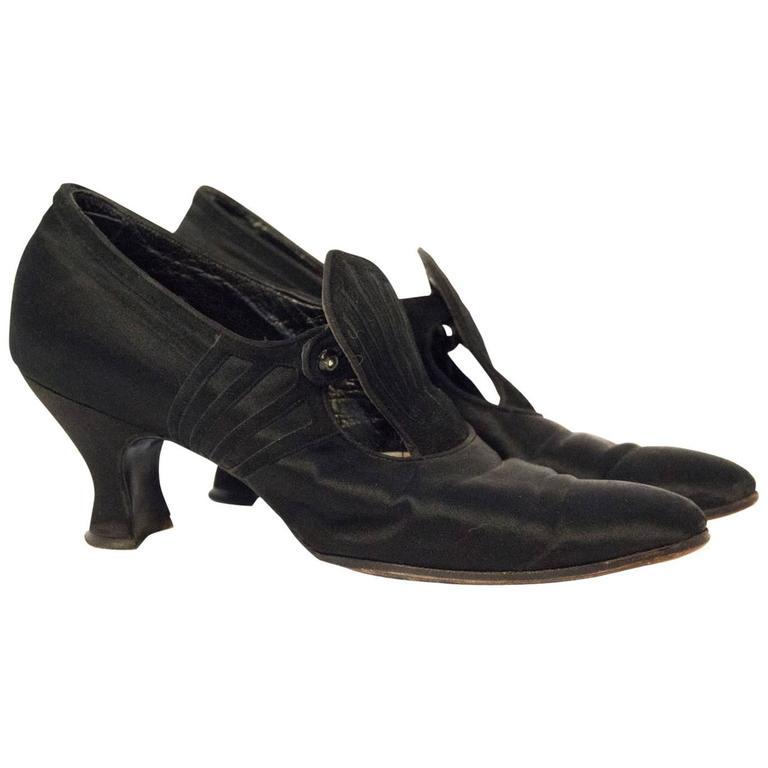 Edwardian Black Silk & Suede Heels