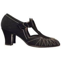 20s Black Cotton & Suede T-Strap Heels with White Stitching