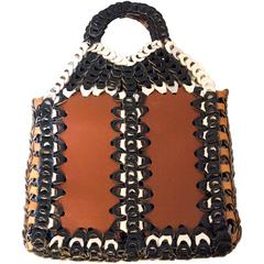 70s Brown, Black & White Woven Tote Bag