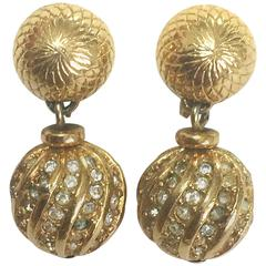 Vintage Christian Dior golden ball charm dangling earrings, rhinestone crystals