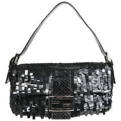 Fendi Classic Black Sequin Baguette Handbag