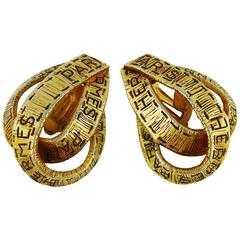 Hermes Vintage Gold Toned Ribbon Motif Clip-On Earrings