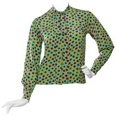 1980s Yves Saint Laurent Graphic Print Blouse XS