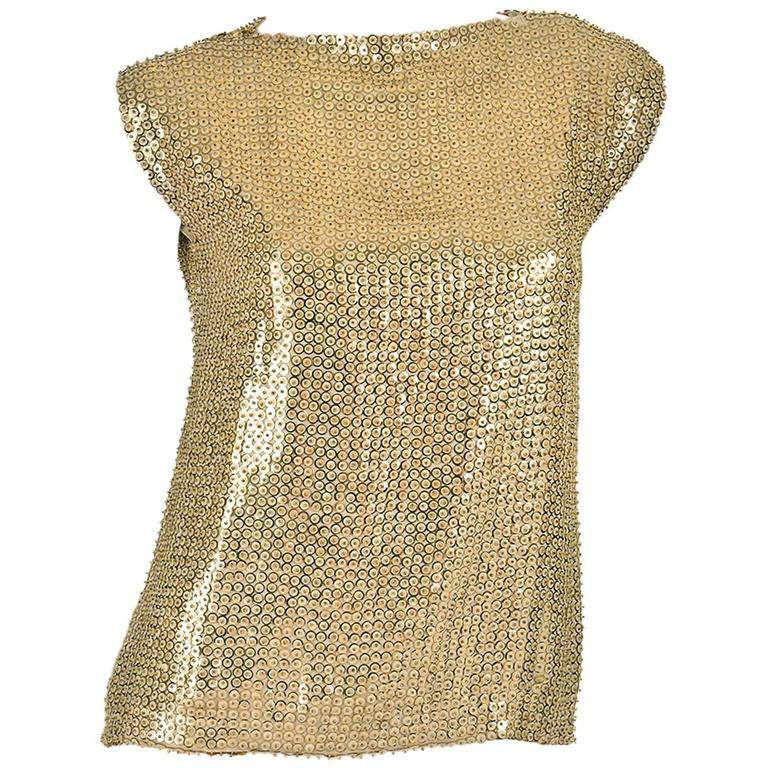 1970's Pierre Balmain Gold Sequined Blouse 1