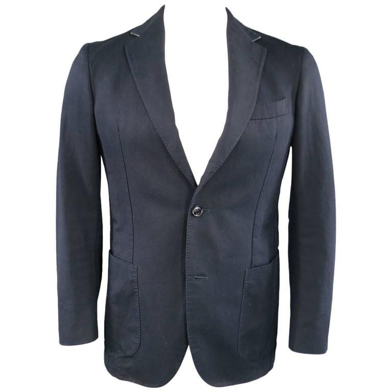 503c1aa6c9 Men's ERMENEGILDO ZEGNA 38 Regular Navy Cotton / Linen Notch Lapel Sport  Coat