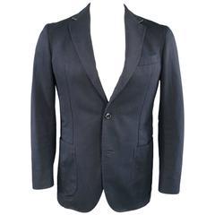Men's ERMENEGILDO ZEGNA 38 Regular Navy Cotton / Linen Notch Lapel Sport Coat