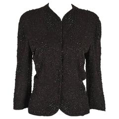 1940s Vintage Rock and Seed Bead Black Jacket