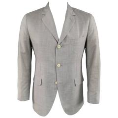 Men's LORO PIANA 40 Regular Light Gray Heather Wool Elbow Patch Sport Coat