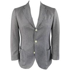 Men's LORO PIANA 38 Short Blue Nailhead Cashmere Patch Pocket Sport Coat