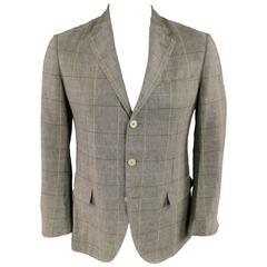 Men's LORO PIANA 38 Regular Taupe Plaid Windowpain Linen Sport Coat