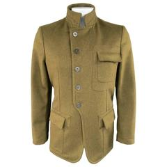 Men's BURBERRY Men's 40 Olive Green Wool Patch Pocket Military Style Coat