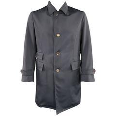 Men's BORRELLI Men's 38 Navy Nylon Wool Faille Collared Storm System Rain Coat
