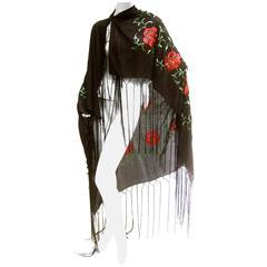 Exotic Embroidered Black Floral Fringe Silk Shawl c 1960