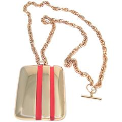 Vintage Lanvin Paris Red & Gold Enamel Pendant Necklace