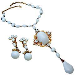 Vintage Signed Schreiner NY Milk Glass Runway Necklace & Earrings Set