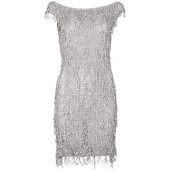 1970's Loris Azzaro Silver Mesh Chain & Beaded Bodycon Mini Dress