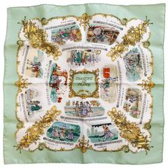 Iconic Hermes Handkerchief Chansons de France by Phillippe Ledoux