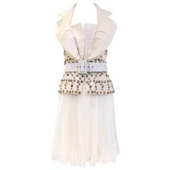 Christian Dior John Galliano Ivory Halter Studded Top and Plisse Skirt ensemble