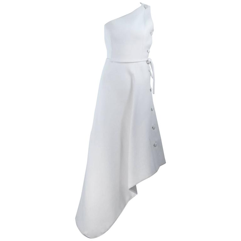 GIVENCHY HAUTE COUTURE White Asymmeterical Gown with Button Detail Size 2 4