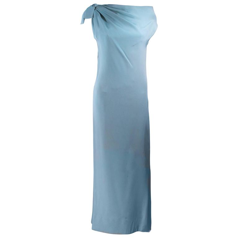 CHRISTIAN DIOR HAUTE COUTURE Aqua Draped Gown Size 0 2 For Sale