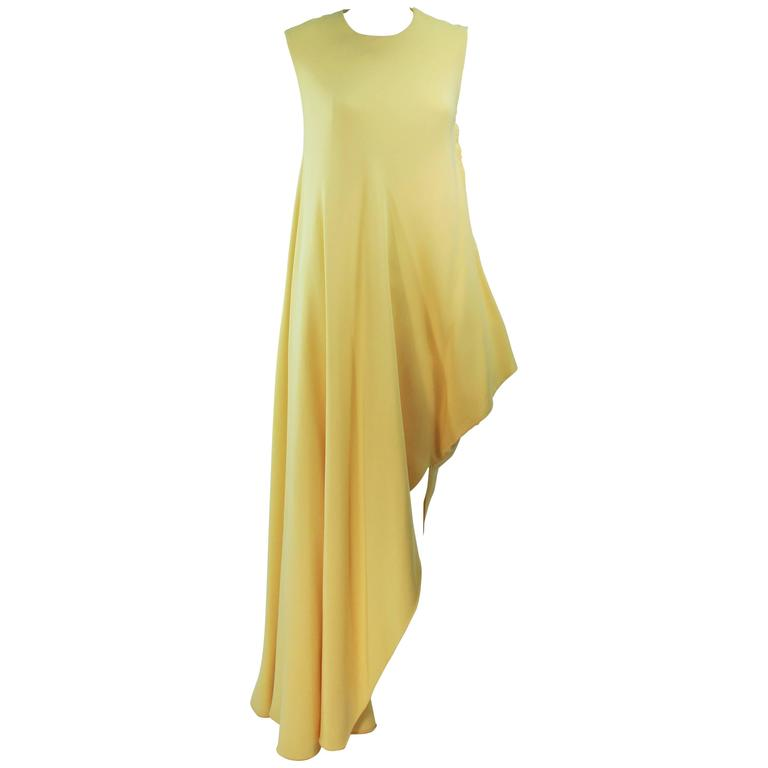 MADAME GRES HAUTE COUTURE Betsy Bloomingdale 1960's Yellow Asymmetrical Gown