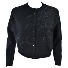 SCHIAPARELLI Black Wool Starburst Beaded Sweater Size Medium