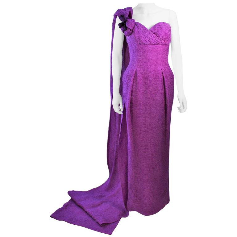 CHRISTIAN DIOR HAUTE COUTURE Purple Crinkle Gown Betsy Bloomingdale 1988