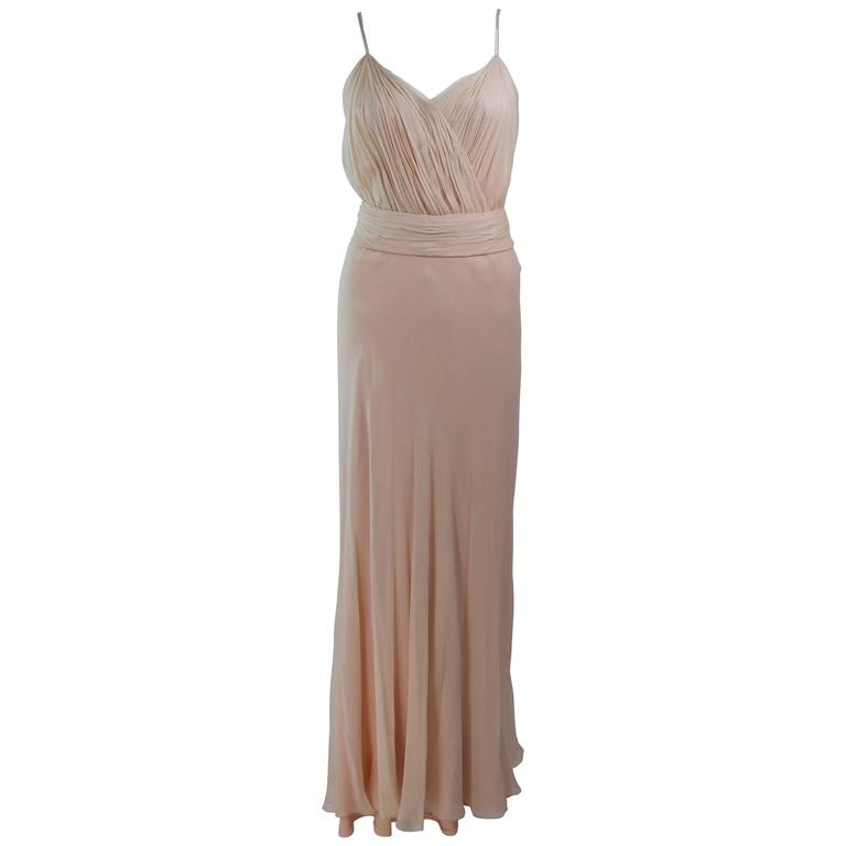 CEIL CHAPMAN Nude Chiffon Draped Gown Size 2 4 For Sale