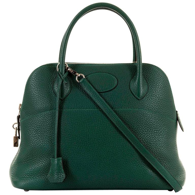 WOW! As New Hermes 31cm Rare 'Malachite Green' Togo Leather Bolide Bag with SHW 1