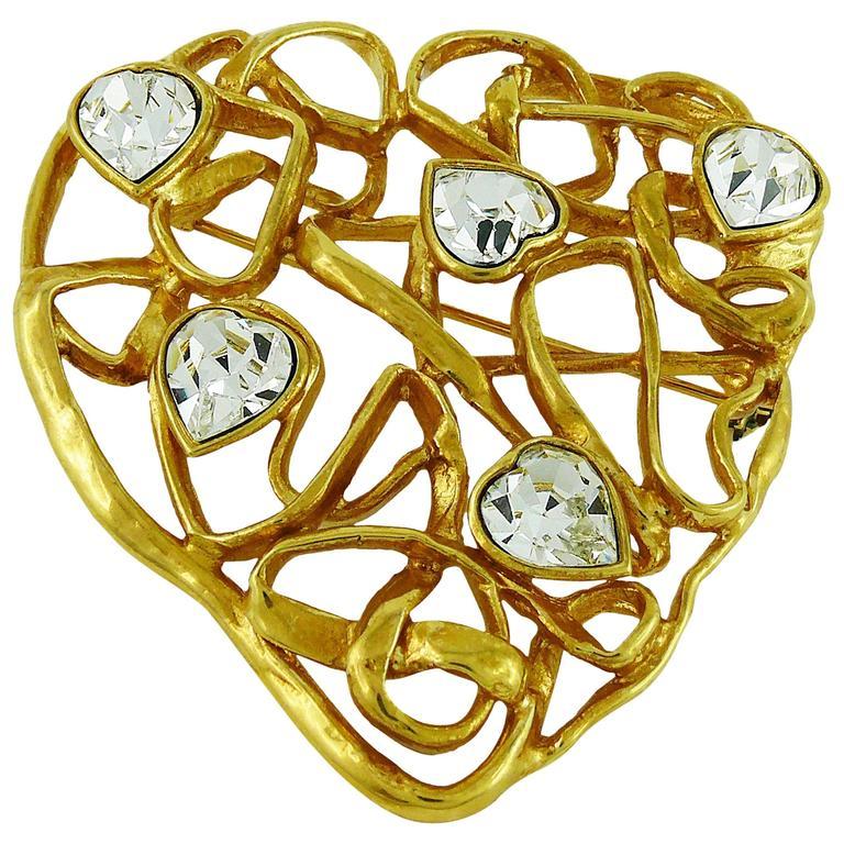 f662e453b1c Yves Saint Laurent YSL Massive Vintage Jewelled Heart Brooch at 1stdibs