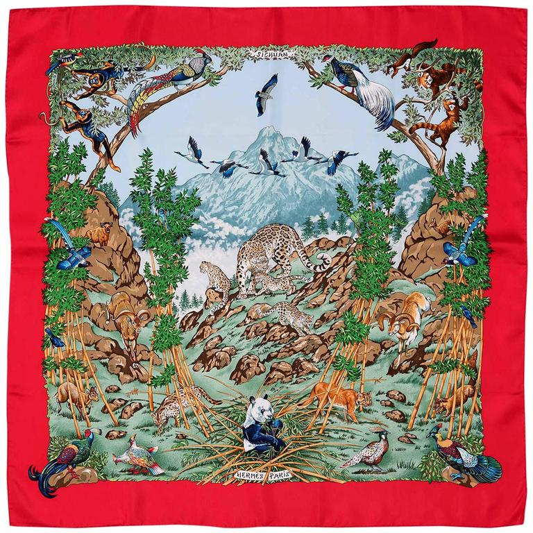 PRISTINE Vintage Hermes Silk Scarf 'Sichuan' by Robert Dallet 1