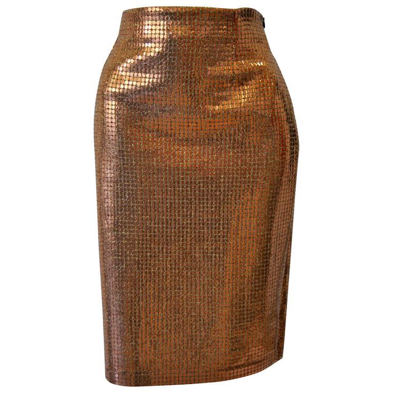 Vibrant Gianfranco Ferre Copper Sequin Pencil Skirt 1