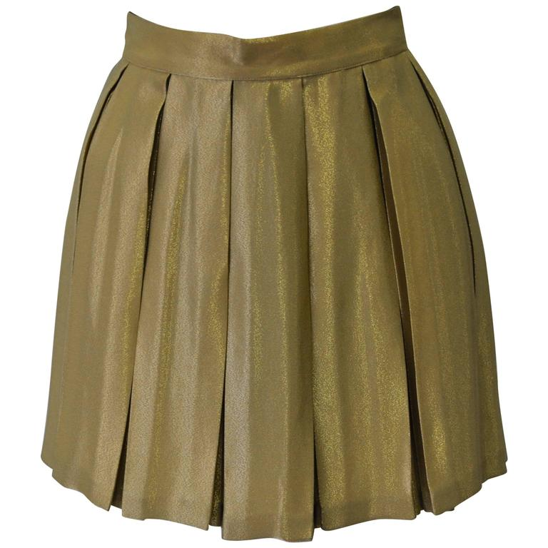 One of a Kind Gianni Versace Couture Gold Pleated Silk Mini Skirt