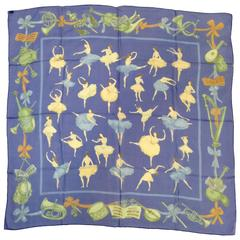 2011 Hermes Special Edition La Danse Blue Sheer Silk Scarf by Jean-Louis Clerc