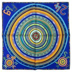 Hermes Royal Blue Tohu Bohu Silk Twill Handkershief by Claudia Stuhlhof-Mayr