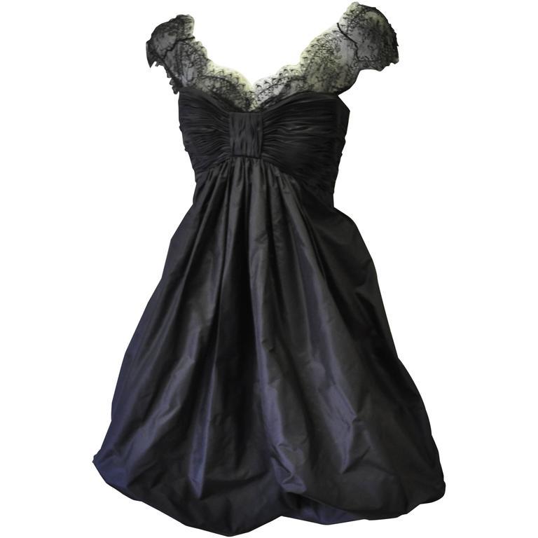 Haute Oscar de la Renta Black Silk Taffeta Bubble Cocktail Dress For Sale