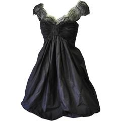 Haute Oscar de la Renta Black Silk Taffeta Bubble Cocktail Dress