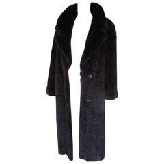 Reversible Long Mink and Silk Fur Coat