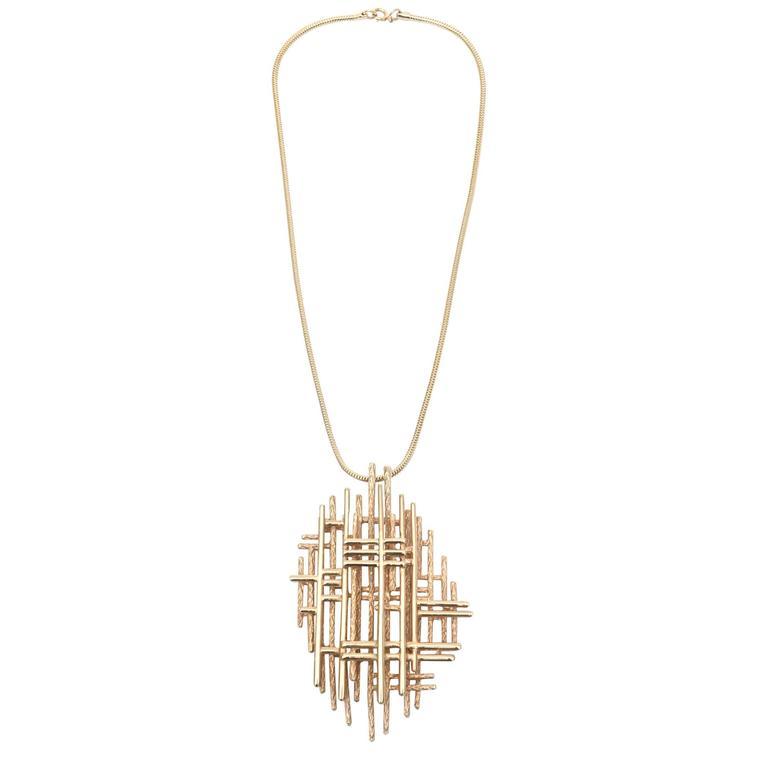 Signed Boucher Gold Plated Modernist Sculptural Pendant Necklace 1