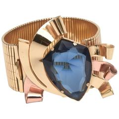Signed Coro Retro Gold, Copper and Blue Faceted Glass Cuff Bracelet