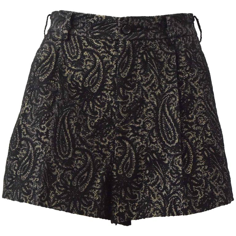 Comme des Garcons Black and Gold Brocade Shorts 2011 1