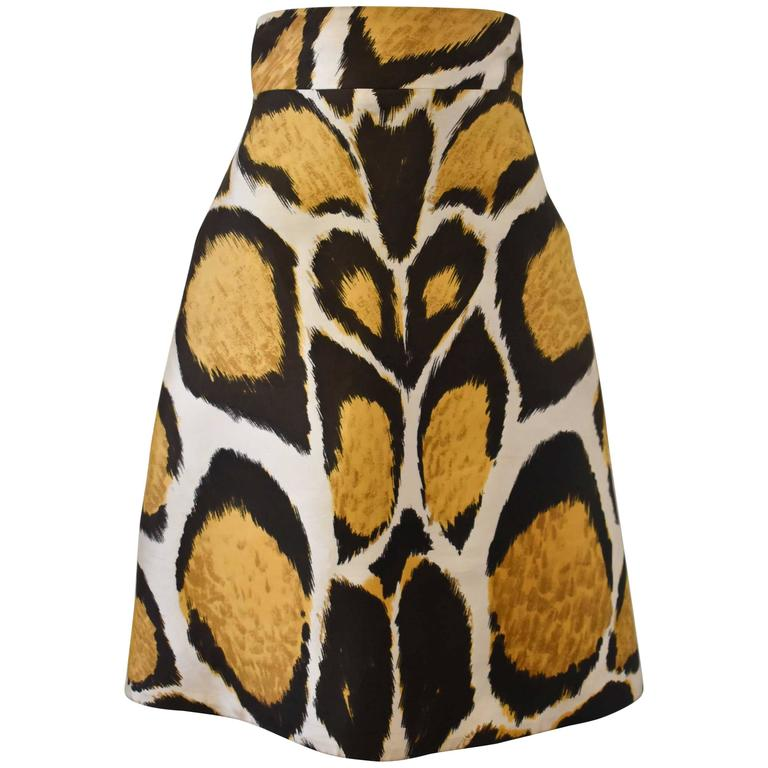 Giles Animal Print A-line High-Waisted Silk Skirt  1
