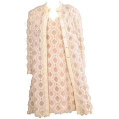 1960's Anthony Muto Sheer Lattice Work Coat and A Line Dress
