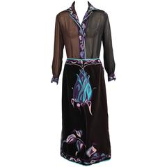 Emilio Pucci Black and Brown Rose Print Silk Chiffon Blouse and Velvet Skirt