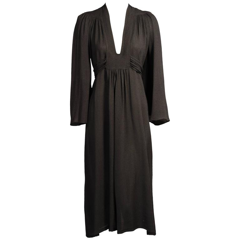 Ossie Clark Black Moss Crepe Dress 1