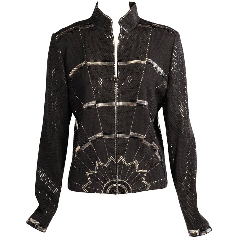 a7fa41d3e St. John Black Wool Jacket with Art Deco Inspired Silver and Black  Decoration For Sale